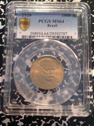 1939 Brazil 1000 Reis Barreto Pcgs Ms64 G124 Coin photo
