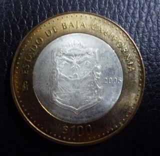 Mexico Bimetallic Silver Coin 100 Pesos Km723 Au 2005 - State Baja California photo