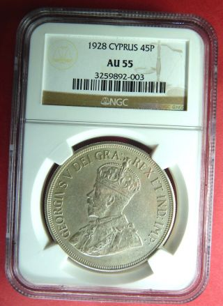 Easter Offer Ngc Au55 Cyprus 1928 45 Piastres Silver Coin,  Zypern,  Greece photo