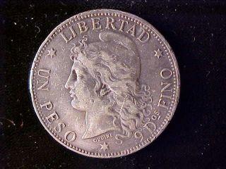 Argentina One Peso 1882 Tiny Rim Nicks photo