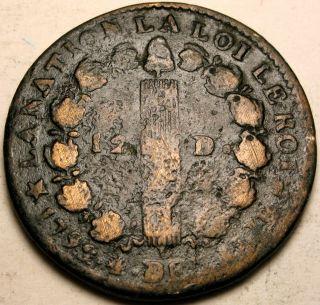 France (1st Republic) 12 Deniers 1792 M - Bronze photo