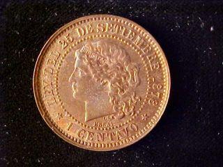 Argentina Centavo Essai 1878 Km - E1,  Bu photo