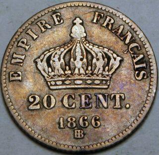 France (second Empire) 20 Centimes 1866 Bb - Silver - Napoleon Iii. photo