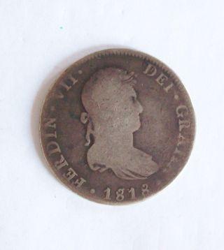 1818 Dei Gratia Ferdin 7th Silver Coin photo