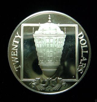 British Virgin Islands 1985 20 Dollars Pf Coin, .  925 Silver Ship ' S Stern Lantern photo