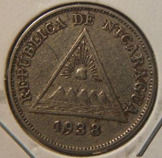 1938 Nicaragua 5 Cents Xf Scarce Coin photo