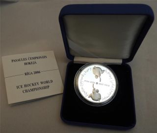 Latvia Riga 2006 Ice Hockey World Championship 31.  5g Silver Proof Coin +coa +box photo
