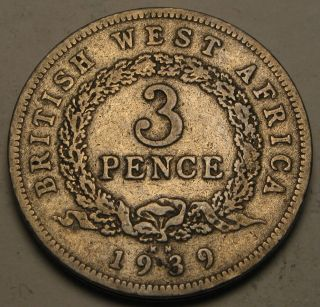 British West Africa 3 Pence 1939 Kn - Copper/nickel - George Vi. photo