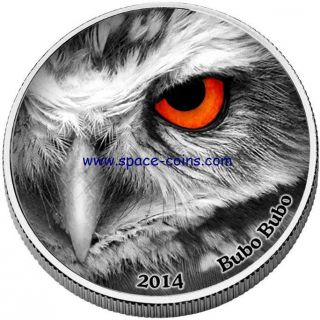 Congo 2014,  Natures Eyes,  Bubo Bubo,  2 Oz Silver Only 999 Made 2000 Francs photo