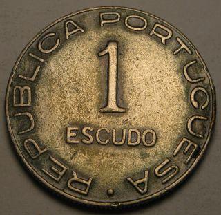 Saint Thomas & Prince (portuguese Colony) 1 Escudo 1939 - Copper/nickel - Vf photo