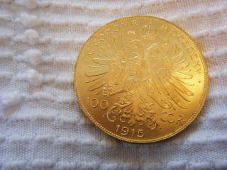 Austria 100 Corona Gold Coin 1915 photo