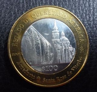 Mexico Bimetallic Silver Coin 100 Pesos Km852 Au 2007 - Santa Rosa Cathedral photo