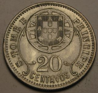 Saint Thomas & Prince (portuguese Colony) 20 Centavos 1929 - Vf/xf photo
