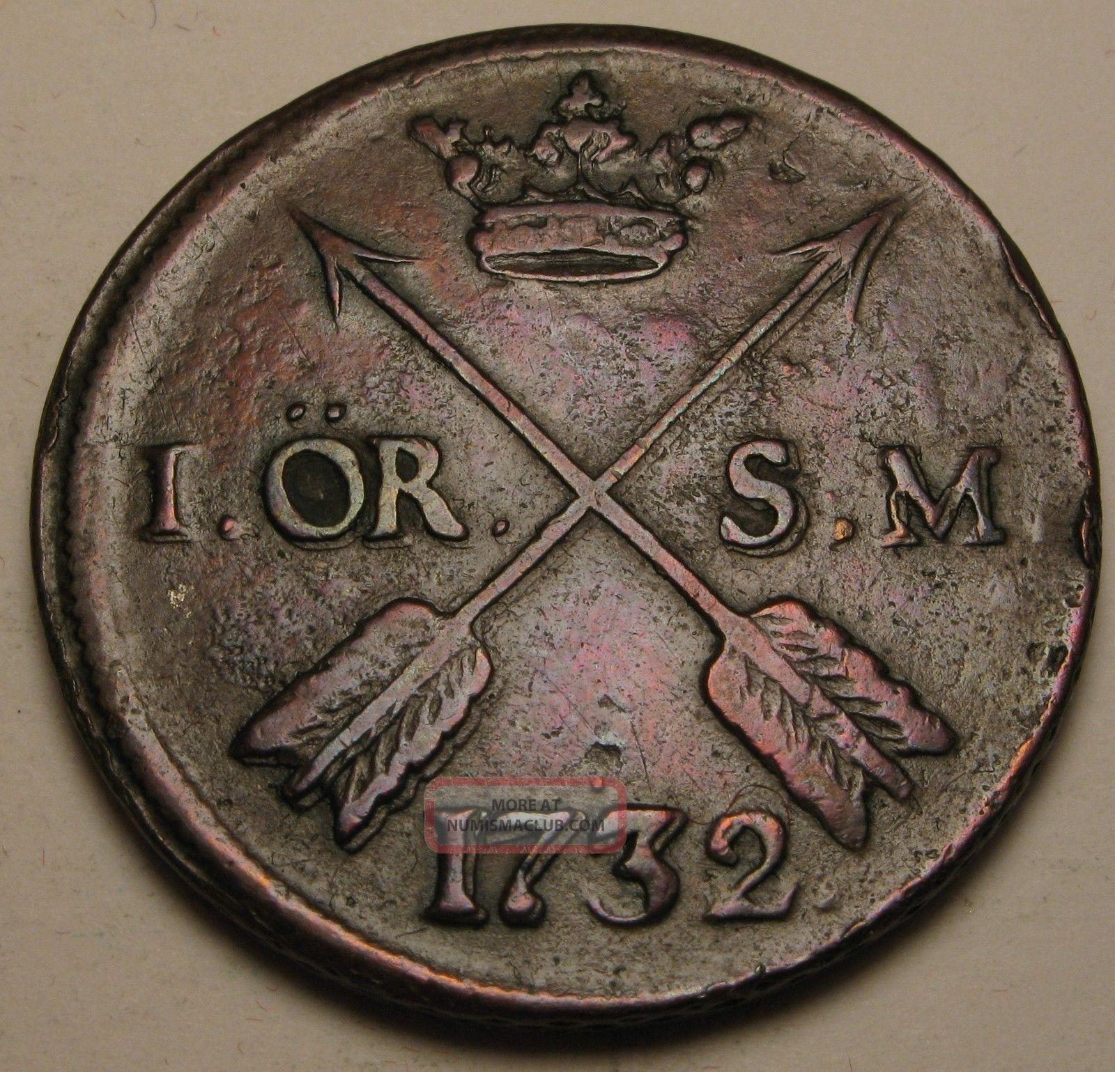 Sweden 1 Ore 1732 (s.  M. ) - Copper - Frederick I. Europe photo