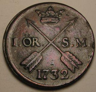 Sweden 1 Ore 1732 (s.  M. ) - Copper - Frederick I. photo