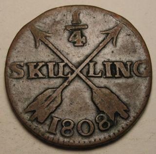 Sweden 1/4 Skilling 1808 - Copper - Gustaf Iv.  Adolf photo