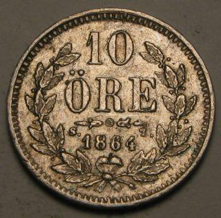 Sweden 10 Ore 1864 St - Silver - Carl Xv Adolf - Vf photo