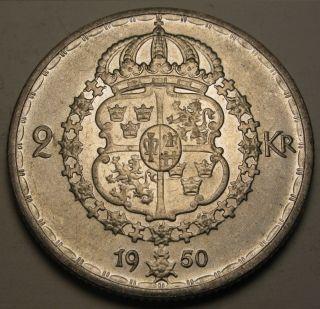 Sweden 2 Kronor 1950 Ts - Silver - Gustaf V - Vf/xf photo