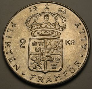 Sweden 2 Kronor 1964 U - Silver - Gustaf Vi - Xf photo