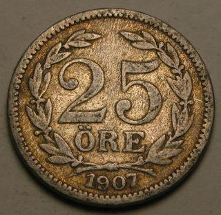 Sweden 25 Ore 1907 Eb - Silver - Oscar Ii. photo