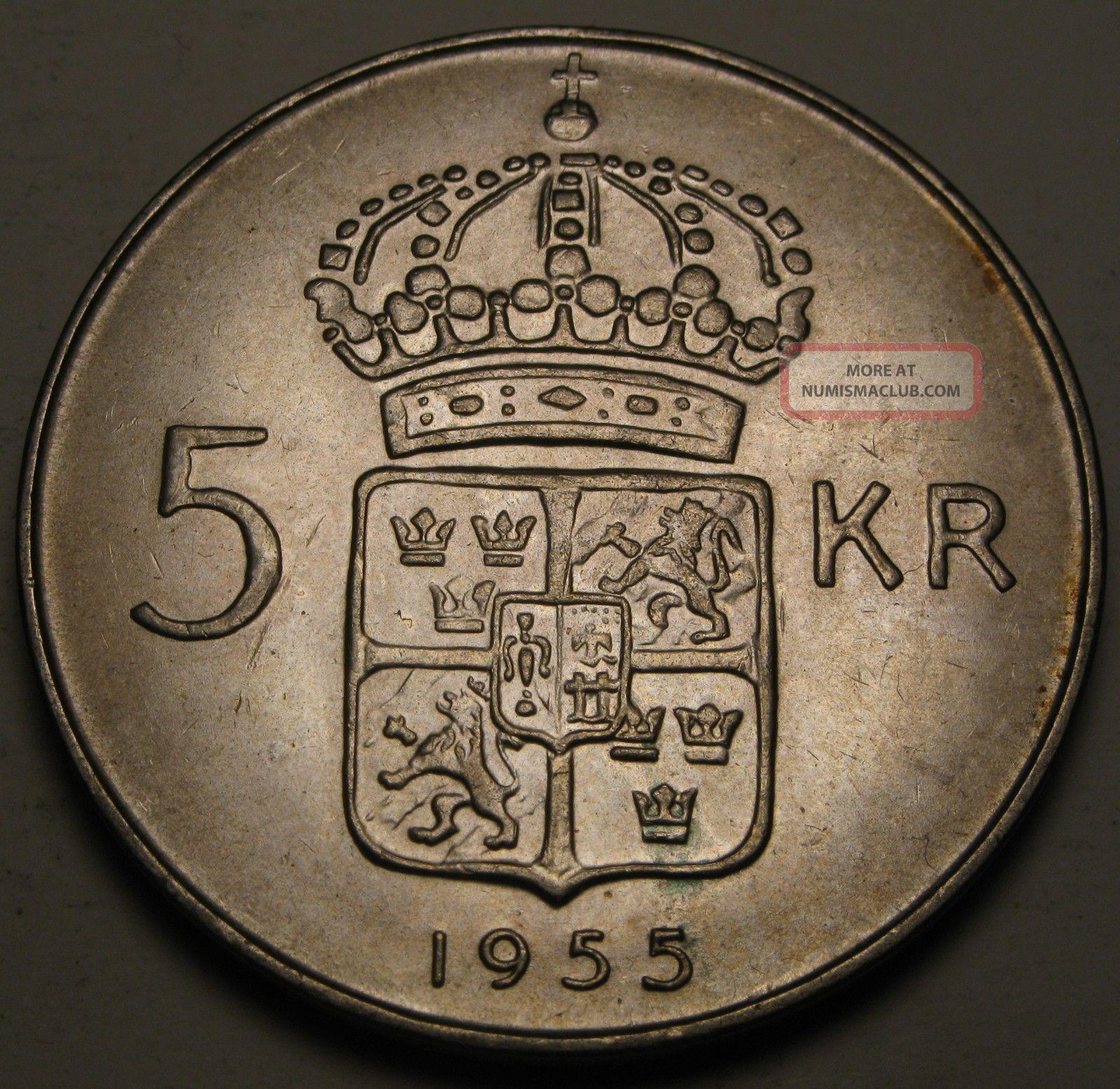 Sweden 5 Kronor 1955 Ts - Silver - Gustaf Vi.  - Vf/xf Europe photo