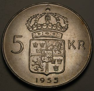 Sweden 5 Kronor 1955 Ts - Silver - Gustaf Vi.  - Vf/xf photo