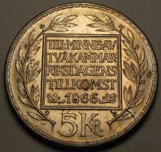 Sweden 5 Kronor 1966 U - Silver - 100th Ann.  Of Constitution Reform - Aunc photo