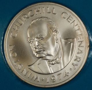 1974 Turks And Caicos Strlng Silver 20 Crown Coin Centenary Of Winston Churchill photo