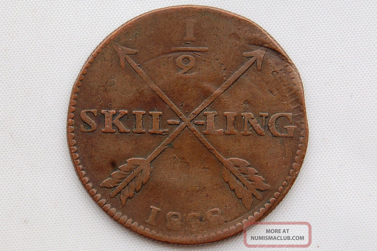 Sweden 1/2 Skilling 1828 Carl Xiv Vf Europe photo