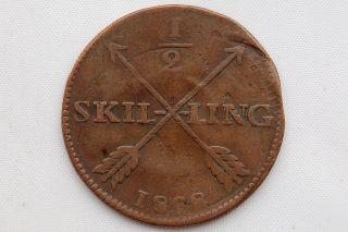 Sweden 1/2 Skilling 1828 Carl Xiv Vf photo