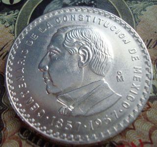 Mexico $5 Pesos Silver Coin 1857 - 1957 photo