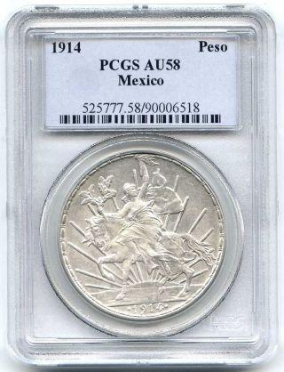 1914 Pcgs Au58 Mexico Caballito Republic Silver Peso photo