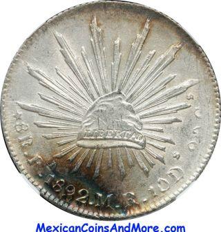 Mexico 8 Reales Pi 1892 M.  R.  Potosi,  Ngc Ms62. photo