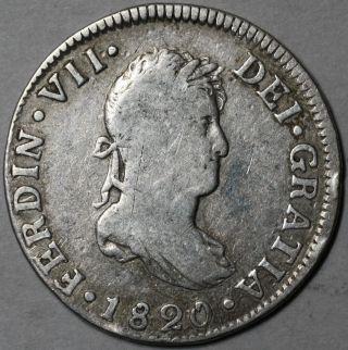 1820 - Ng Spanish Colonial Silver 2 Reales (old Us Quarter Dollar) Guatemala photo