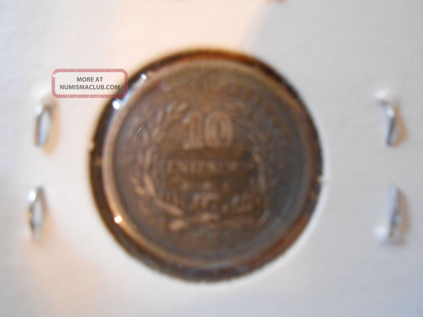Uruguay 10 Centesimos,  1877 And 1980 1 Peso South America photo