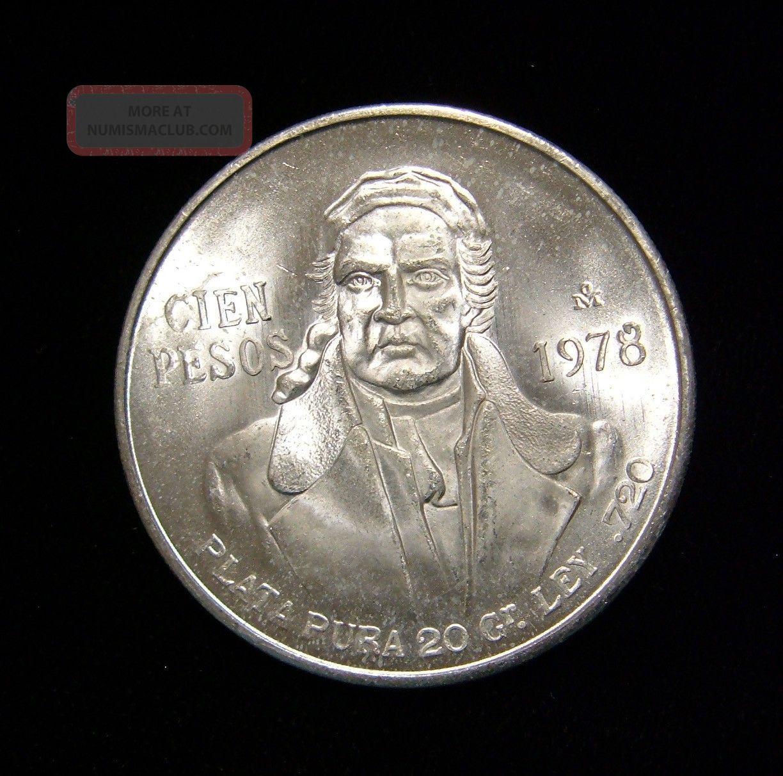 Mexico 1978 100 Pesos Coin Silver Bu Jose Morelos