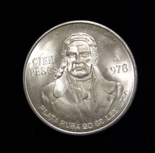 Mexico 1978 100 Pesos Coin Silver Bu Jose Morelos photo