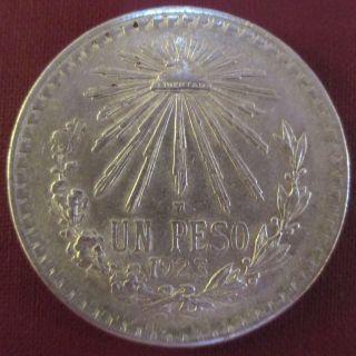 Mexico 1923 72% Silver Un Peso Cap And Ray Very Good Libertad Coin photo