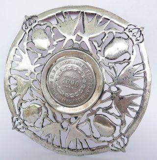 1866 Coin Silver 900 Vinces Petrus Ii D.  G 1000 Brazil Reis Dish & Cup Hallmarks photo