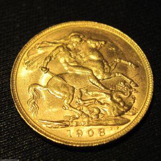 1908 P (perth,  Australia) Britain Sovereign Gold Coin 22k - 91.  6% Content photo