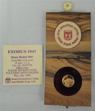 Israel 1987 Ship Exodus 1947 13mm 1.  7g Gold + Olive Wood Box + photo