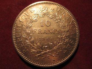10 Francs Hercule 1966 Silver 90% Coin photo