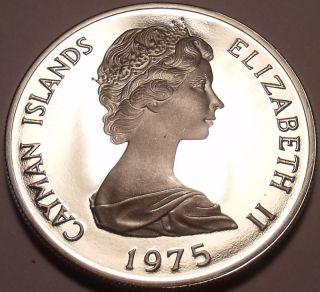Massive Silver Proof Cayman Islands 1975 5 Dollars Rare Inc photo