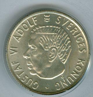 1963 Sweden 2 Kroner Silver Crown Finest Graded State. photo