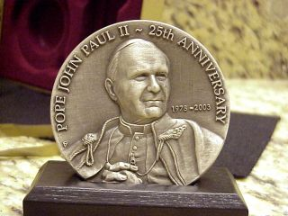 John Paul Ii Numbered Commemorative Medallion W/stand Boxed +certificate photo