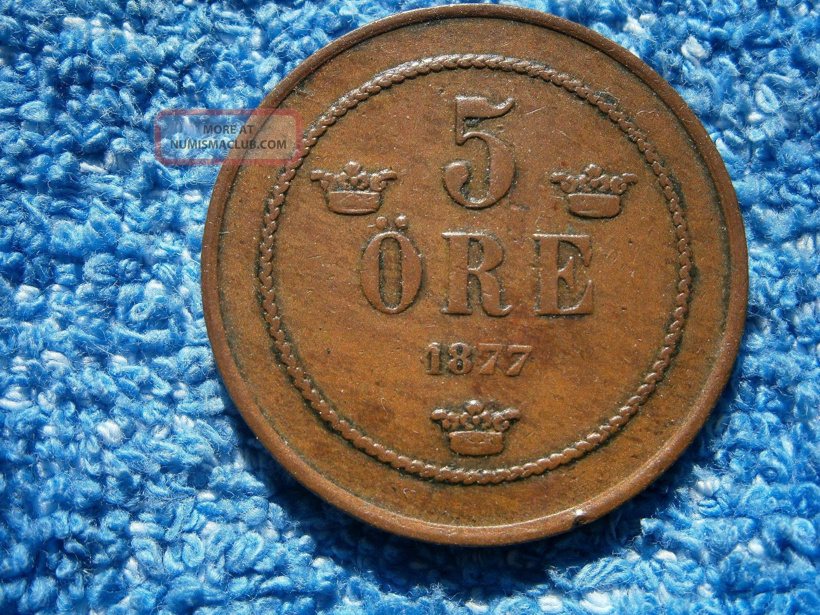 Sweden: 1877 Very Scarce Copper 5 Ore About Extremely Fine Europe photo