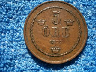 Sweden: 1877 Very Scarce Copper 5 Ore About Extremely Fine photo