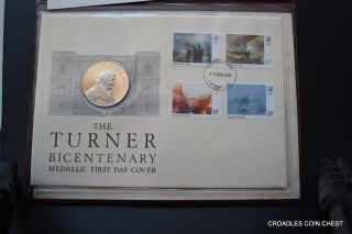 1975 Turner Bicentenary First Day Cover And Silver Medal John Pinches photo