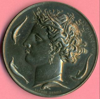 Greek Mythology Goddess Artemis Syracuse Silver Art Medal By A,  Dubois Rare photo