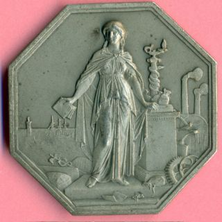 French Silver Art Nouveau Medal Société Générale 1859 Harbor Ship Lighthouse photo